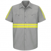 Red Kap SP24 Enhanced Visibility Industrial Work Shirt - Short Sleeve - Light Grey