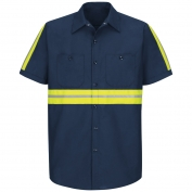 Red Kap SP24 Enhanced Visibility Industrial Work Shirt - Short Sleeve - Navy