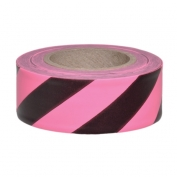 Presco SPGBK Striped Roll Flagging Tape - Pink Glo/Black