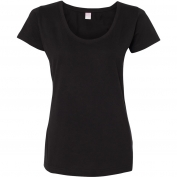 LAT 3504 Women's Fine Jersey Deep Scoop Longer Length T-Shirt