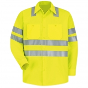 Red Kap SS14 Hi-Visibility ANSI Type R Class 3 Work Shirt - Long Sleeve - Fluorescent Yellow/Green
