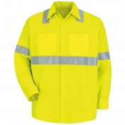 Red Kap SS14 Hi-Visibility ANSI Type R Class 2  Long Sleeve Work Shirt - Fluorescent Yellow/Green
