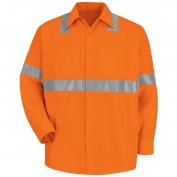 Red Kap SS14 Hi-Visibility ANSI Type R Class 2 Work Shirt - Long Sleeve - Fluorescent Orange