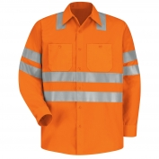 Red Kap SS14 Hi-Visibility ANSI Type R Class 3 Work Shirt - Long Sleeve - Fluorescent Orange