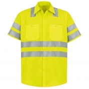 Red Kap SS24 Hi-Visibility ANSI Type R Class 3 Short Sleeve Work Shirt - Fluorescent Yellow