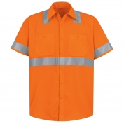 Red Kap SS24 Hi-Visibility ANSI Type R Class 2 Work Shirt - Short Sleeve - Fluorescent Orange