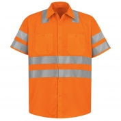 Red Kap SS24 Hi-Visibility ANSI Type R Class 3 Work Shirt - Short Sleeve - Fluorescent Orange