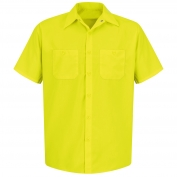 Red Kap SS24 Enhanced Visibility Work Shirt - Short Sleeve - Fluorescent Yellow