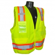 Radians SV62-2ZGT Type R Class 2 Solid Twill Heavy Duty Surveyor Safety Vest - Yellow/Lime