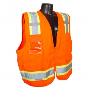 Radians SV62-2ZOT Type R Class 2 Solid Twill Heavy Duty Surveyor Safety Vest - Orange