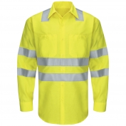 Red Kap SY14AB Hi-Visibility ANSI Class 3 Work Shirt - Long Sleeve - Fluorescent Yellow/Green