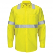 Red Kap SY14HV Hi-Visibility ANSI Class 2 Work Shirt - Long Sleeve - Fluorescent Yellow/Green