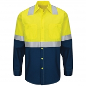 Red Kap SY14 Hi-Visibility Colorblock Ripstop Work Shirt - Long Sleeve - Fluorescent Yellow/Green and Navy