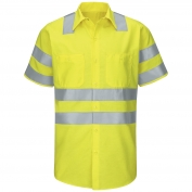 Red Kap SY24AB Hi-Visibility ANSI Class 3 Work Shirt - Short Sleeve - Fluorescent Yellow/Green