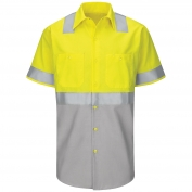 Red Kap SY24 Hi-Visibility Colorblock Ripstop Work Shirt - Short Sleeve - Fluorescent Yellow/Green and Gray