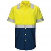 Red Kap SY24 Hi-Visibility Colorblock Ripstop Work Shirt - Short Sleeve - Fluorescent Yellow/Green and Navy