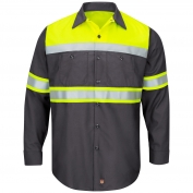 Red Kap SY70 Hi-Visibility Ripstop Work Shirt - Long Sleeve - Charcoal