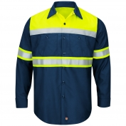 Red Kap SY70 Hi-Visibility Ripstop Work Shirt - Long Sleeve - Navy