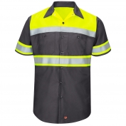 Red Kap SY80 Hi-Visibility Ripstop Work Shirt - Short Sleeve - Charcoal