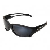 Edge TSK21-G15-7 Kazbek Safety Glasses - Black Rubberized Frame - G-15 Silver Mirror Polarized Lens