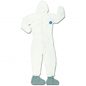 River City TY122S DuPont Tyvek Coverall w/ Attached Hood & Boots - Zipper Front - Elastic Sleeves & Ankles