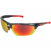 U.S. Safety DM131RZ Dominator DM3 Safety Glasses - Gray/Red Frame - Polarized Red Mirror Lens
