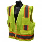 Full Source US2LN16 Type R Class 2 Solid Surveyor Safety Vest - Yellow/Lime