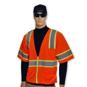 Full Source US2ON32 ANSI Type R Class 2 Solid Short Sleeve Safety Vest - Orange