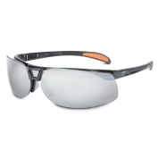 Uvex Protege Safety Glasses - Black Frame - Silver Mirror Lens