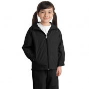 Sport-Tek YST73 Youth Hooded Raglan Jacket - Black