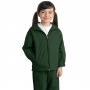 Sport-Tek YST73 Youth Hooded Raglan Jacket - Forest Green