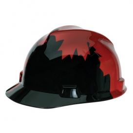 MSA V-Gard Hard Hat- Canadian- Black with Red Maple Leaf
