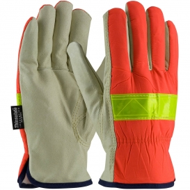 PIP 125-468 Top Grain Pigskin Leather Palm Gloves with Hi-Vis Nylon Back and 3M Thinsulate Liner