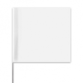 Presco Plain Wire Staff Marking Flags - 2x3 - 15 inch Staff - White
