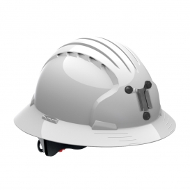 JSP Evolution 6161M Deluxe Full Brim Mining Hard Hat - Wheel Ratchet Suspension - White
