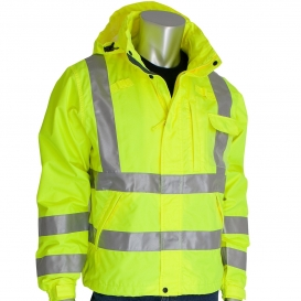 PIP 353-2000-LY Type R Class 3 Heavy Duty Waterproof Breathable Rain Jacket - Yellow/Lime