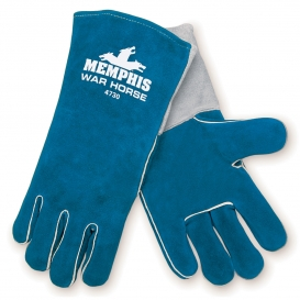 Memphis 4730 War Horse Side Leather Welders Gloves - Foam Lining - Wing Thumb