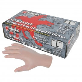 MCR Safety 5020 SensaGuard Disposable Vinyl Industrial Grade Gloves - 5 Mil - Powdered - Clear
