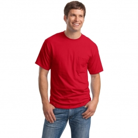 Hanes 5190 Beefy-T Cotton T-Shirt with Pocket - Deep Red