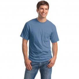 Hanes 5190 Beefy-T Cotton T-Shirt with Pocket - Denim Blue