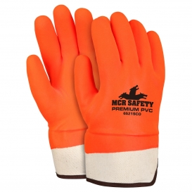 MCR Safety 6521SCO Industry Standard PVC Coated Gloves - Foam Lined - Orange