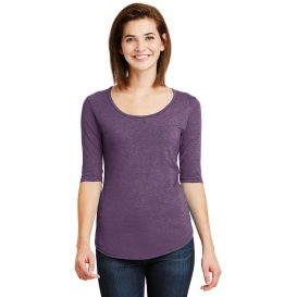 Anvil 6756L Ladies Tri-Blend Deep Scoop Neck 1/2 Sleeve-Tee - Heather Aubergine