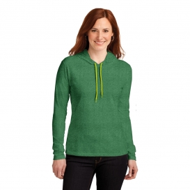 Anvil 887L Ladies Ring Spun Cotton Long Sleeve Hooded T-Shirt - Heather Green/Neon Yellow