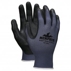 MCR Safety 9673SF Sandy Foam Nitrile Palm Gloves - 13 Gauge Nylon - Blue