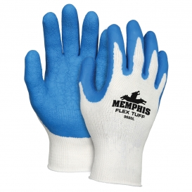 Memphis 9680 Flex Tuff Latex Coated Gloves - 10 Gauge Cotton/Polyester - White