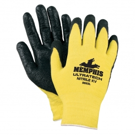 Memphis 9693 UltraTech Nitrile KV Coated Palm Gloves - 13 Gauge Stretch Kevlar - Yellow