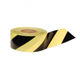 YELLOW & BLACK STRIPE - Barricade Tape 1000 ft Roll-3 Mil