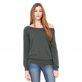 Bella + Canvas BC7501 Women's Sponge Fleece Wide-Neck Sweatshirt - Deep Heather