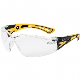 Bolle 40250 Rush+ Small Safety Glasses - Yellow/Black Temples - Clear Platinum Anti-Fog Lens