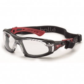 Bolle 40252 Rush+ Safety Glasses with Strap - Red/Black Temples - Clear Platinum Anti-Fog Lens